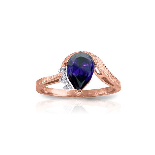 Genuine 1.52 ctw Sapphire & Diamond Ring 14KT Rose Gold - REF-56T5A