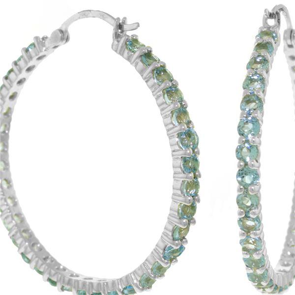 Genuine 6 ctw Blue Topaz Earrings 14KT White Gold - REF-104K8V