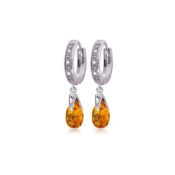 Genuine 2.53 ctw Citrine & Diamond Earrings 14KT White Gold - REF-58W2Y