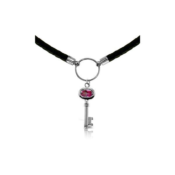 Genuine 0.50 ctw Pink Topaz Necklace 14KT White Gold - REF-66M2T