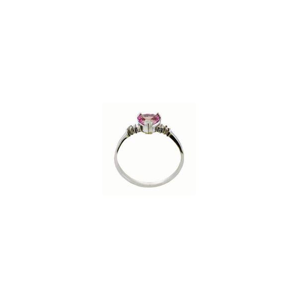 Genuine 0.98 ctw Pink Topaz & Diamond Ring 14KT White Gold - REF-31V2W
