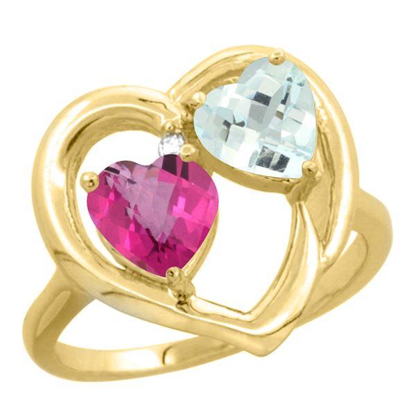 2.61 CTW Diamond, Pink Topaz & Aquamarine Ring 10K Yellow Gold - REF-27V9R