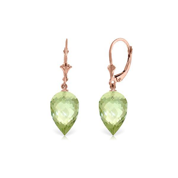 Genuine 19 ctw Green Amethyst Earrings 14KT Rose Gold - REF-35M9T