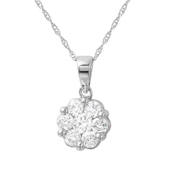 Natural 0.25 CTW Diamond Necklace 14K White Gold - REF-36F2M