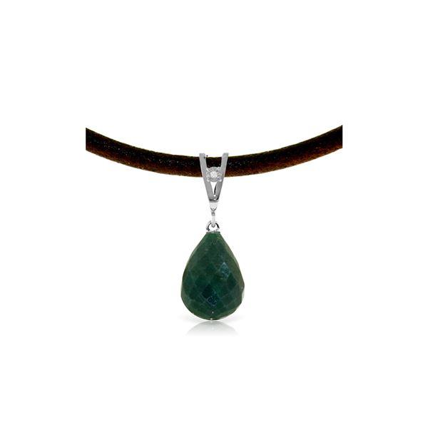 Genuine 15.51 ctw Green Sapphire Corundum & Diamond Necklace 14KT White Gold - REF-30V2W