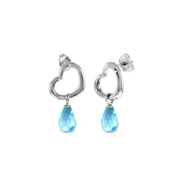Genuine 4.5 ctw Blue Topaz Earrings 14KT White Gold - REF-42K6V