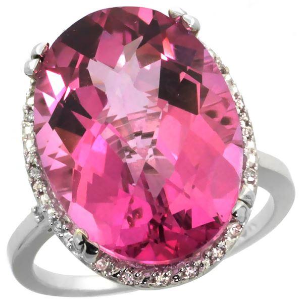 13.71 CTW Pink Topaz & Diamond Ring 10K White Gold - REF-57N6Y