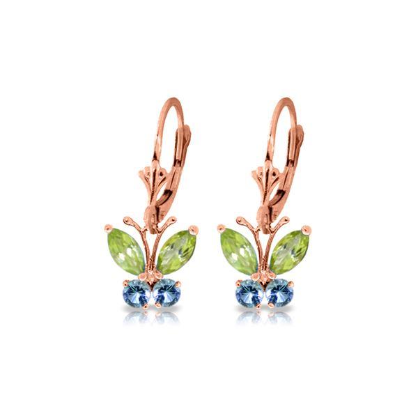 Genuine 1.24 ctw Peridot & Blue Topaz Earrings 14KT Rose Gold - REF-38Z2N