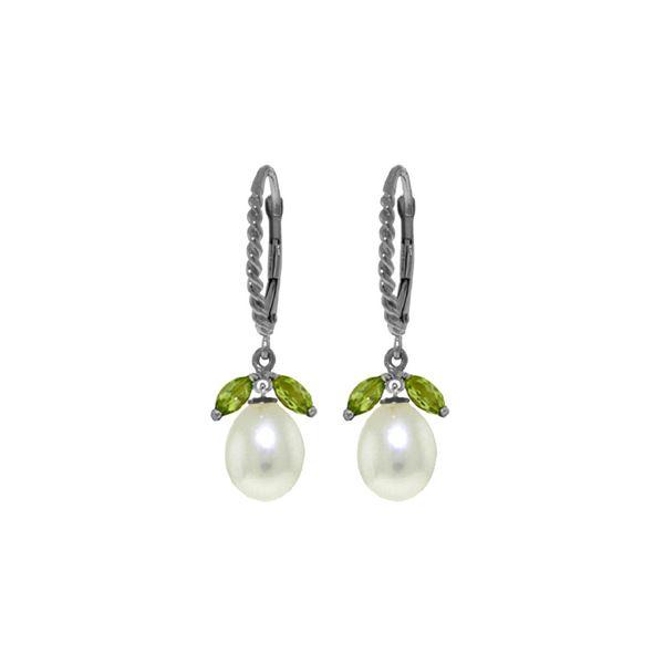 Genuine 9 ctw Peridot & Pearl Earrings 14KT White Gold - REF-39W3Y