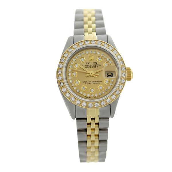 Rolex Pre-owned 26mm Womens Custom String Champagne Two Tone