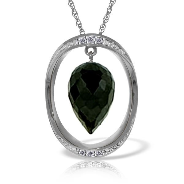 Genuine 12.35 ctw Black Spinel & Diamond Necklace 14KT White Gold - REF-105Y7F