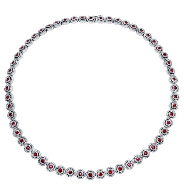 Natural 14.18 CTW Ruby & Diamond Necklace 14K White Gold - REF-850F5M
