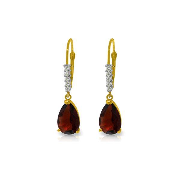 Genuine 3.15 ctw Garnet & Diamond Earrings 14KT Yellow Gold - REF-44H3X
