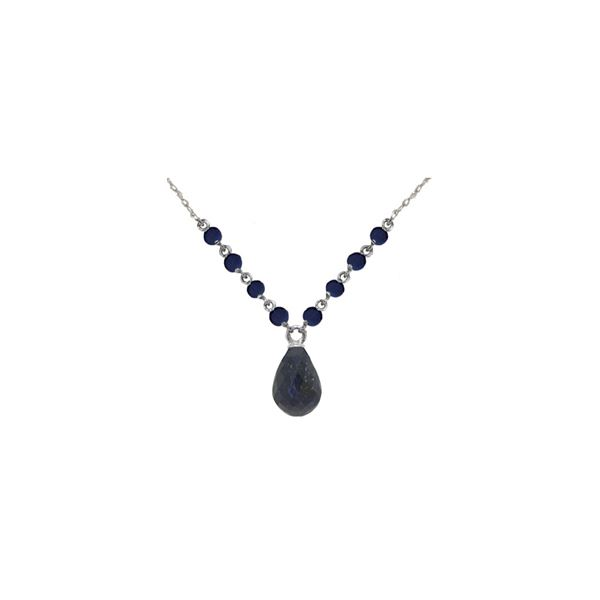 Genuine 15.8 ctw Sapphire Necklace 14KT White Gold - REF-37V2W