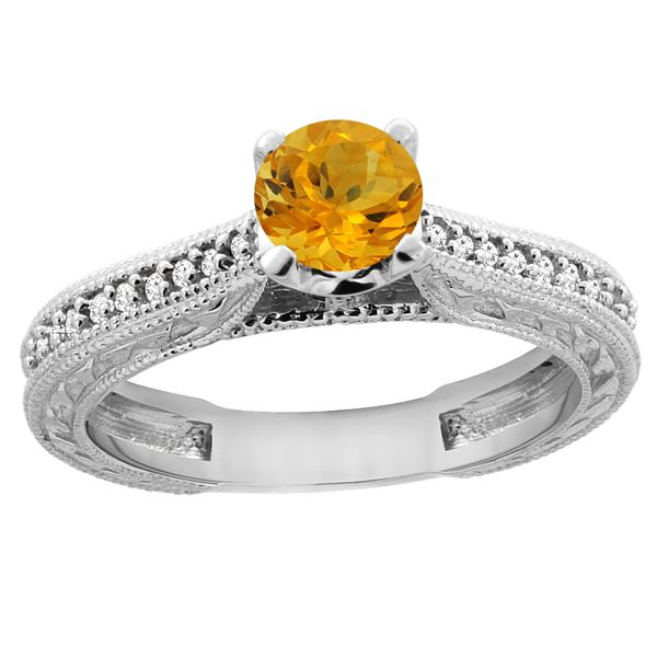 0.57 CTW Citrine & Diamond Ring 14K White Gold - REF-53N2Y