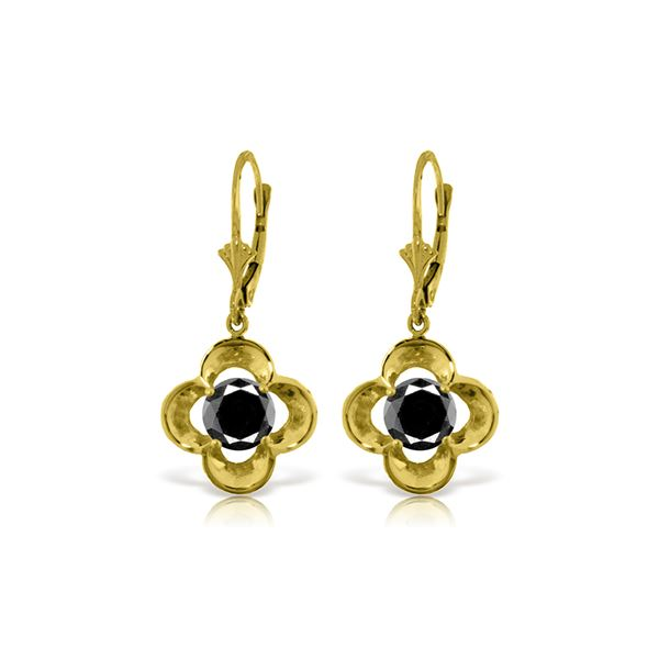 Genuine 1.0 ctw Black Diamond Earrings 14KT Yellow Gold - REF-76P2H