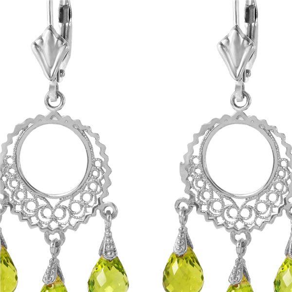 Genuine 3.75 ctw Peridot Earrings 14KT White Gold - REF-43H8X