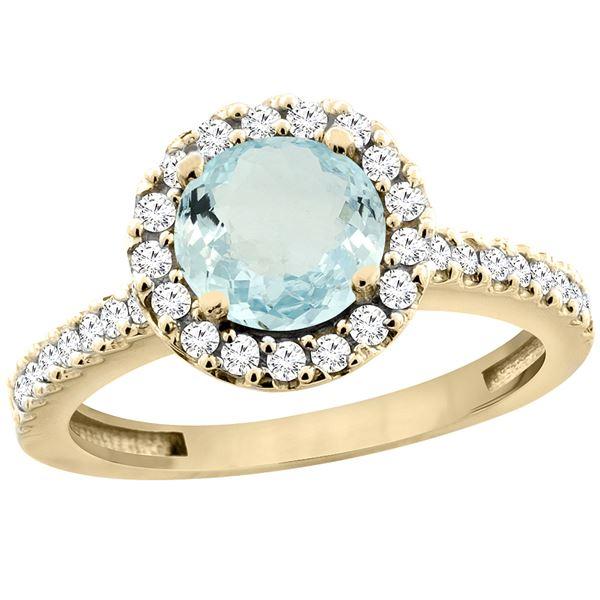 1.13 CTW Aquamarine & Diamond Ring 14K Yellow Gold - REF-54N5Y