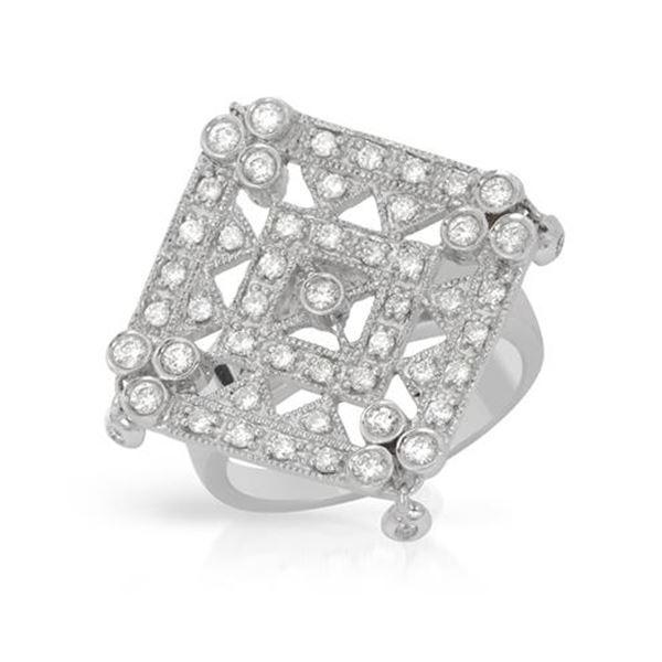 Natural 0.74 CTW Diamond Ring 18K White Gold - REF-190W8H