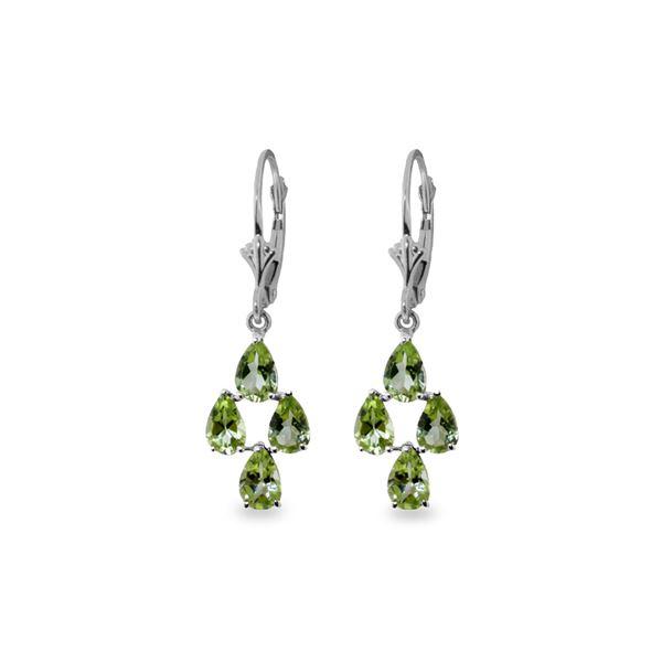 Genuine 4.5 ctw Peridot Earrings 14KT White Gold - REF-41A2K