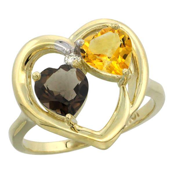 2.61 CTW Diamond, Quartz & Citrine Ring 14K Yellow Gold - REF-33M9A