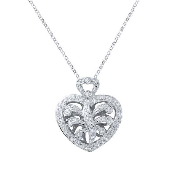 Natural 0.30 CTW Diamond Necklace 18K White Gold - REF-79F2M