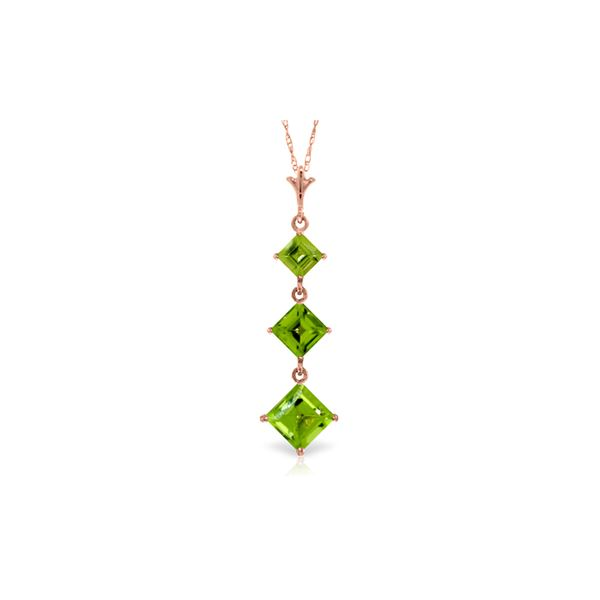 Genuine 2.4 ctw Peridot Necklace 14KT Rose Gold - REF-29H7X