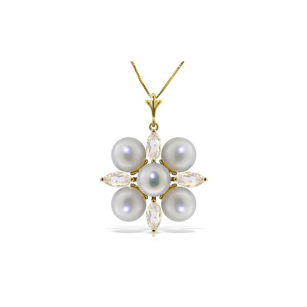 Genuine 6.3 ctw White Topaz & Pearl Necklace 14KT Yellow Gold - REF-59W2Y