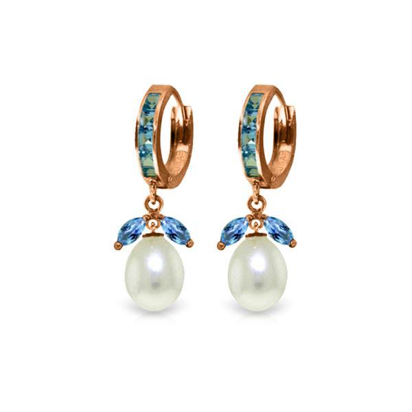 Genuine 10.30 ctw Blue Topaz & Pearl Earrings 14KT Rose Gold - REF-56P7H