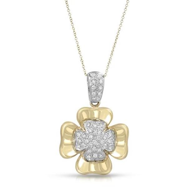Natural 0.55 CTW Diamond & Pendant 18K Two Tone Yellow Gold - REF-195N3Y