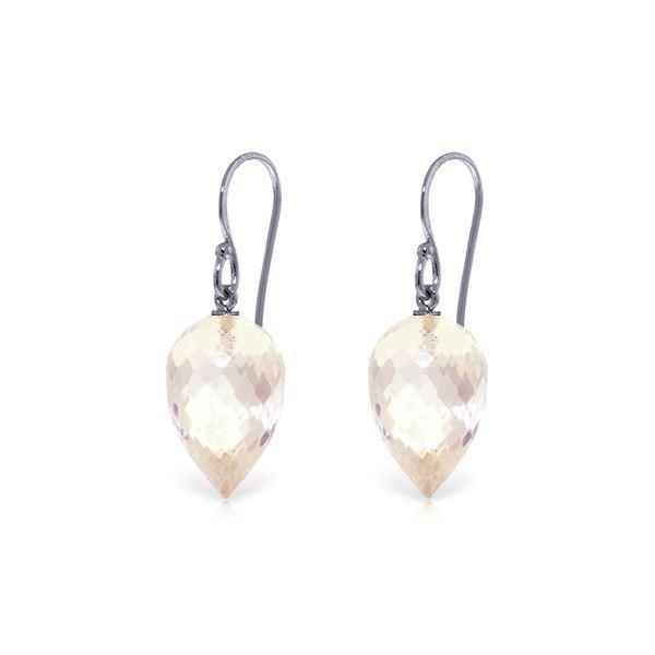 Genuine 24.5 ctw White Topaz Earrings 14KT White Gold - REF-40Z5N