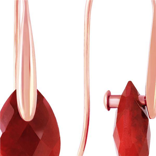 Genuine 8 ctw Ruby Earrings 14KT Rose Gold - REF-47P4H