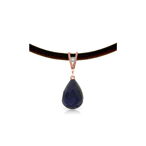 Genuine 14.81 ctw Sapphire & Diamond Necklace 14KT Rose Gold - REF-30Y2F