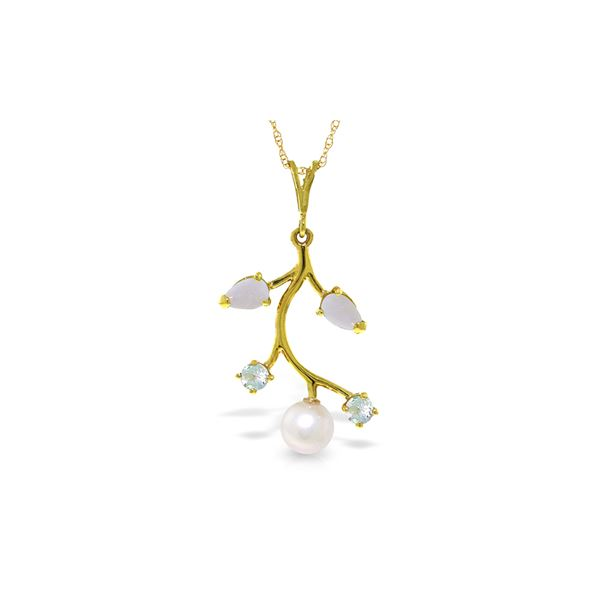 Genuine 2.45 ctw Opal, Aquamarine & Pearl Necklace 14KT Yellow Gold - REF-30A2K