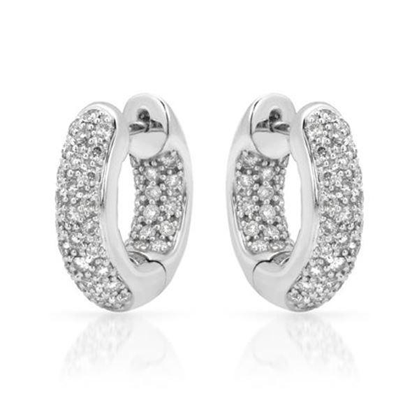 Natural 1.01 CTW Diamond Earrings 14K White Gold - REF-118F8M