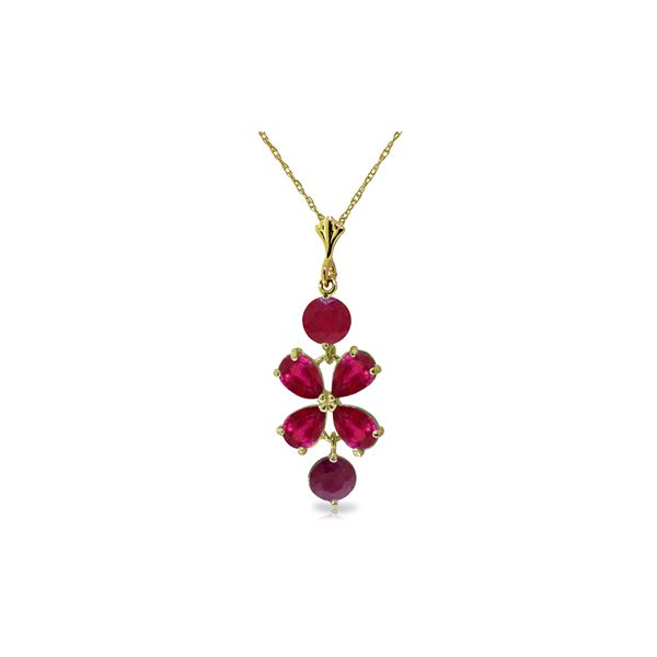 Genuine 3.15 ctw Ruby Necklace 14KT Yellow Gold - REF-38V6W