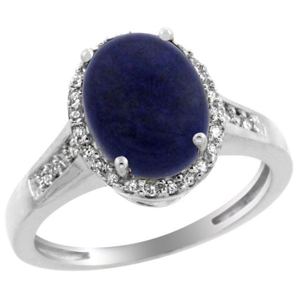 2.60 CTW Lapis Lazuli & Diamond Ring 14K White Gold - REF-52M8K