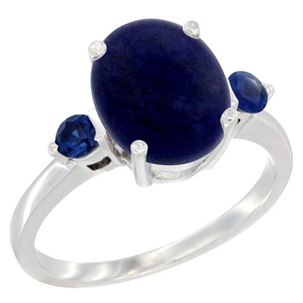 2.74 CTW Lapis Lazuli & Blue Sapphire Ring 14K White Gold - REF-30W2F