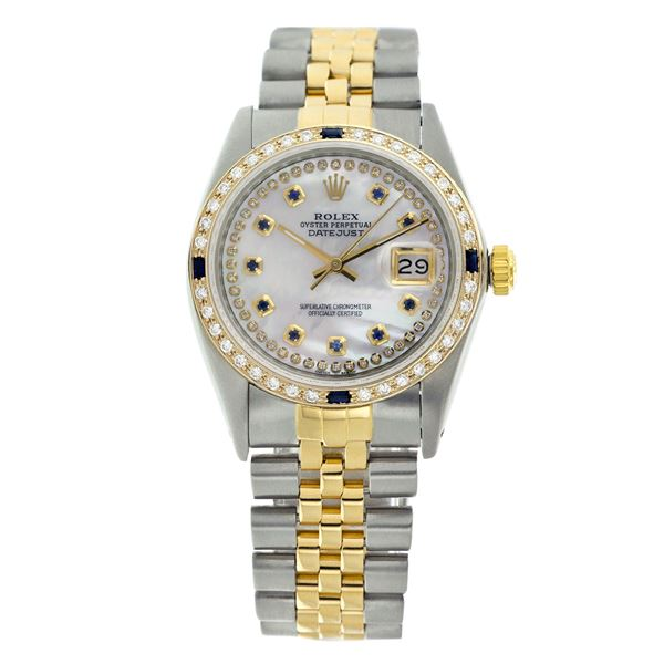 Rolex Pre-owned 36mm Mens String White MOP Two Tone