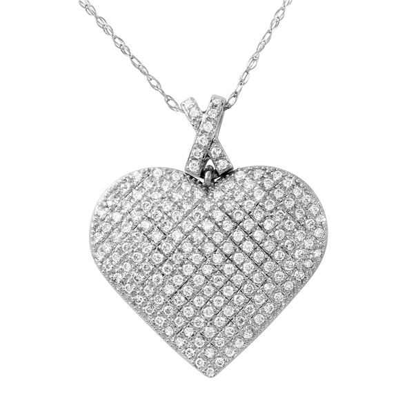 Natural 1 CTW Diamond Necklace 14K White Gold - REF-135F9M