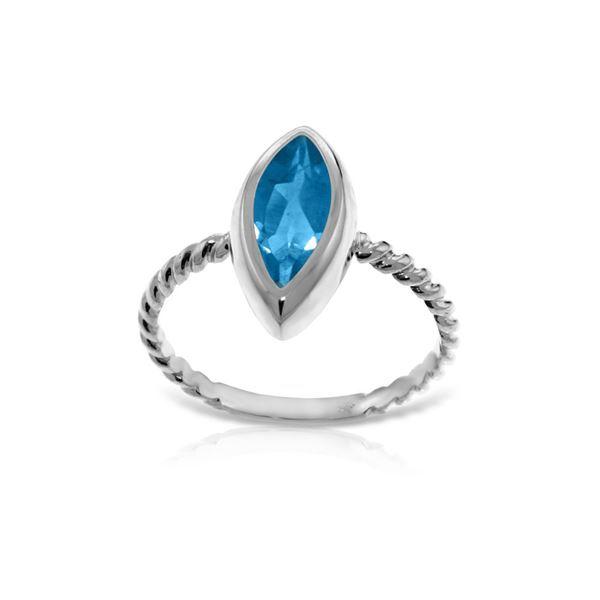 Genuine 2.5 ctw Blue Topaz Ring 14KT White Gold - REF-39Y9F