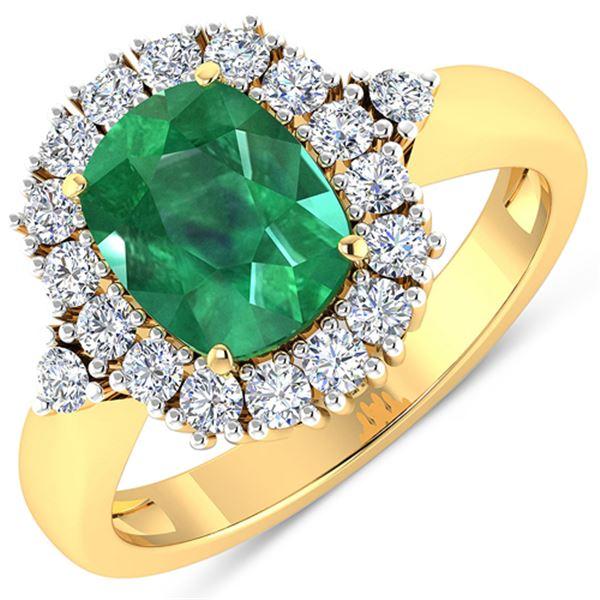 Natural 2.39 CTW Zambian Emerald & Diamond Ring 14K Yellow Gold - REF-112R3F