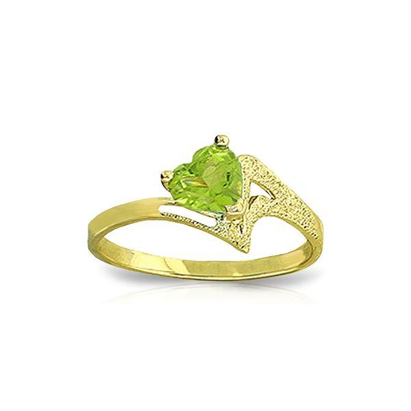 Genuine 0.60 ctw Peridot Ring 14KT Yellow Gold - REF-35P9H