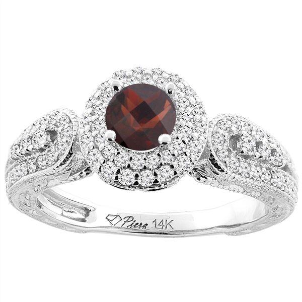 1.10 CTW Garnet & Diamond Ring 14K White Gold - REF-88V9R