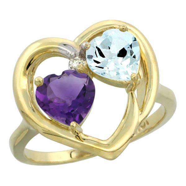 2.61 CTW Diamond, Amethyst & Aquamarine Ring 14K Yellow Gold - REF-38X2M