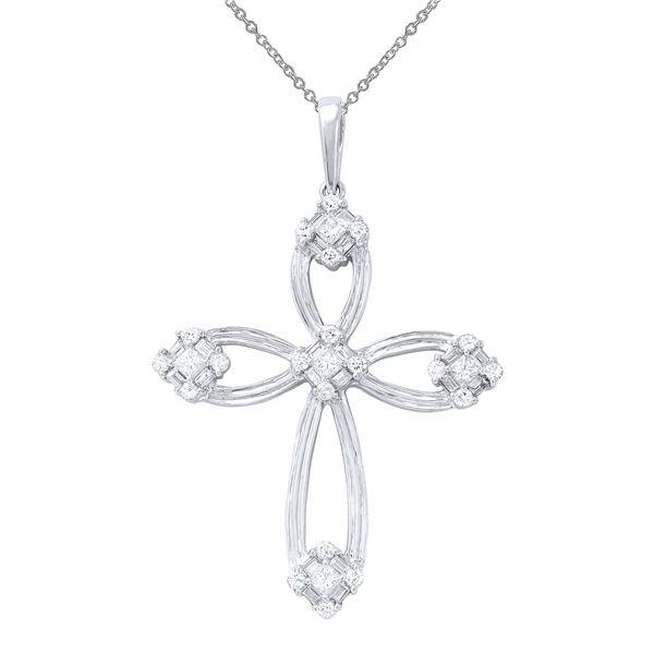 Natural 1.59 CTW Diamond & Baguette Necklace 18K White Gold - REF-312W3H
