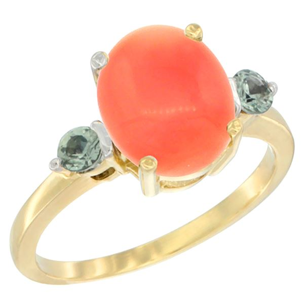 0.24 CTW Green Sapphire & Natural Coral Ring 14K Yellow Gold - REF-31R6H