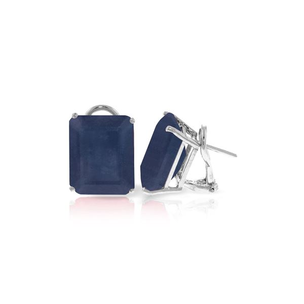 Genuine 14 ctw Sapphire Earrings 14KT White Gold - REF-125Y6F