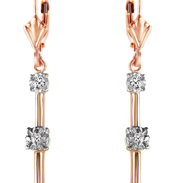 Genuine 0.20 ctw Diamond Anniversary Earrings 14KT Rose Gold - REF-52M9T