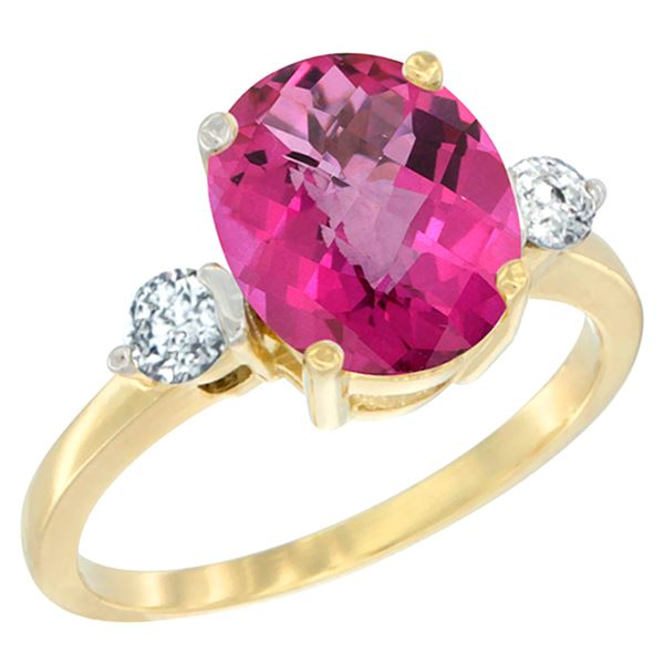 2.60 CTW Pink Topaz & Diamond Ring 10K Yellow Gold - REF-62X2M